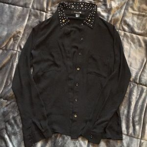 Forever 21 black collar studded button up shirt